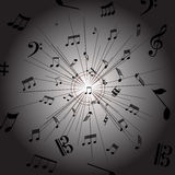 Music Notes. Vector illustration of music notes on a dark bars decorated background vector illustration