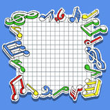 Music notes. Vector illustration of frame with music notes Stock Photos