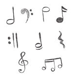 Music, Notes, vector, illustration, hand drawing Royalty Free Stock Image