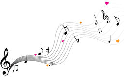 Music notes. Vector illustration of music notes with hearts Royalty Free Stock Photos