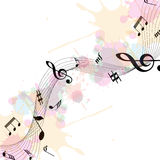 Music Notes. Vector illustration of music notes on a white and painted background stock illustration