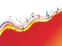 Music notes and waves elements, wallpaper Stock Image