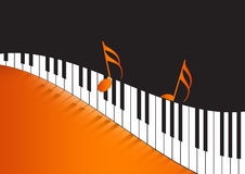 Music Notes and wavy piano keyboard. In orange background Royalty Free Stock Photo