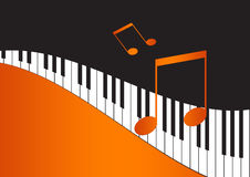 Music Notes and wavy piano keyboard. In orange background Royalty Free Stock Photography
