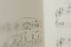Music notes on white background. Excerpt of notes on sheet of music Royalty Free Stock Photo