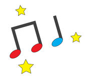 Music notes white stars icons vector Stock Images