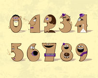 Music numbers. Digits from zero to nine, in the form of animated musical characters Stock Photography