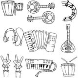 Music object doodles stock collection Royalty Free Stock Images
