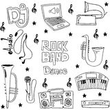 Music object doodles on white backgrounds Stock Photo