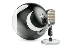 Free Music Of Pakistan Concept. Retro Microphone With Pakistani Flag. 3D Rendering Royalty Free Stock Images - 215844419
