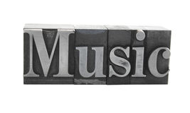 'Music' in old metal type. Old, ink-stained metal letterpress type spells out the word 'Music' in upper and lower case, isolated on white stock images