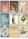 Music and old paper tags vintage collage set of nine cards music notes rose love dragonfly Paris amour floral hearts. Antique letters post cards stock illustration
