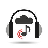 Music online cloud headphone music note connected Royalty Free Stock Photos