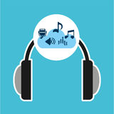 Music online cloud headphone musical items Stock Photography