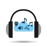Music online cloud headphone musical items Stock Photo