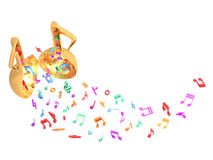 Music open door colorful fly up Royalty Free Stock Image
