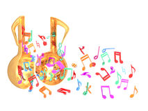 Music open door colorful. This raster is music toy open and flying colorful music note in white color background Stock Photos