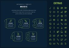Music infographic template, elements and icons. Music options infographic template, elements and icons. Infograph includes line icon set with musical Stock Photography