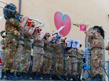 Music orchestra military performing festival of strawberry Stock Photo