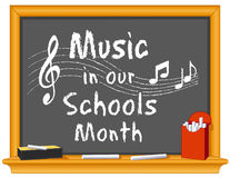 Music in Our Schools Month Blackboard vector illustration