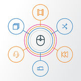 Music Outline Icons Set. Collection Of Film, Rewind, Randomize Elements. Also Includes Symbols Such As Categories, Film. Music Outline Icons Set. Collection Of Stock Photography