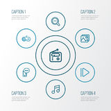 Music Outline Icons Set. Collection Of Musical Note, Slow Forward, Gamepad And Other Elements. Also Includes Symbols. Music Outline Icons Set. Collection Of Royalty Free Stock Photo