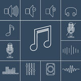 Music outline icons set. Linear vector illustration Royalty Free Stock Photo