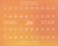 Music Outline and Stroke Icons Set Stock Photos