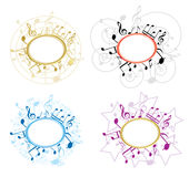 Music oval frames with notes - set - vector. Music oval frames with notes - vector set Stock Photography