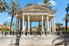 Music palette on Castelnuovo square, near Politeama Garibaldi theatre, used for outdoor concerts in Palermo, Italy Royalty Free Stock Images