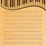 Music paper decorated with keys. Old music paper.grunge effect.musical background Stock Images