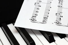 Music paper sheet lying on th piano keys Royalty Free Stock Photo