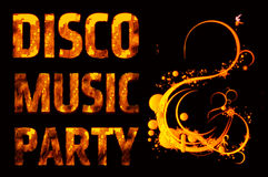 Music party disco. Fire design element on the black background Royalty Free Stock Images
