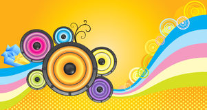 Music  party flyer. With colorful loudspeakers Royalty Free Stock Photos