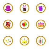 Music party icon set, cartoon style Stock Image