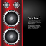 Music party invite with speakers on red and white background Stock Photography