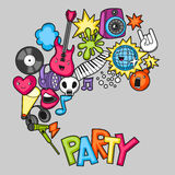 Music party kawaii background. Musical instruments, symbols and objects in cartoon style Stock Photo