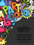 Music party kawaii background. Musical instruments, symbols and objects in cartoon style Stock Image