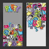 Music party kawaii banners. Musical instruments, symbols and objects in cartoon style Stock Photography