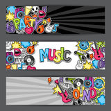 Music party kawaii banners. Musical instruments, symbols and objects in cartoon style Royalty Free Stock Photo