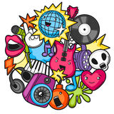 Music party kawaii design. Musical instruments, symbols and objects in cartoon style Stock Image