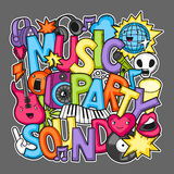 Music party kawaii design. Musical instruments, symbols and objects in cartoon style Royalty Free Stock Photo