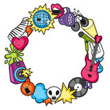 Music party kawaii frame. Musical instruments, symbols and objects in cartoon style.  Stock Images