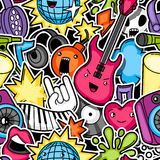 Music party kawaii seamless pattern. Musical instruments, symbols and objects in cartoon style Stock Photo