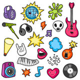 Music party kawaii set. Musical instruments, symbols and objects in cartoon style Stock Images