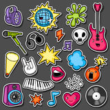 Music party kawaii sticker set. Musical instruments, symbols and objects in cartoon style Stock Images
