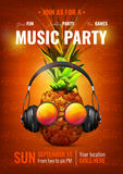Music Party Poster. With pineapple in realistic headphones, glasses on dark red background with notes vector illustration Stock Images