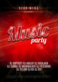 Music Party poster with red flame background - Vector. Royalty Free Stock Image