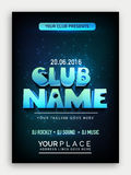 Music Party Template, Banner or Flyer design. Club Party Template, Dance Party Flyer, Musical Party Banner, Night Party Invitation with 3d lettering design Stock Photo