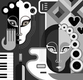 Music Party - vector illustration. Musical Party - abstract vector illustration. Black and white stylized collage. Fine art Stock Photos